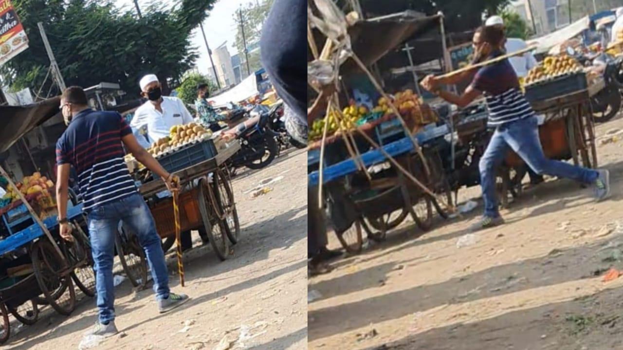 #Bharuch - માસ્ક દાઢી પર રાખી સિવિલ ડ્રેસમાં આવેલા પોલીસ કર્મીએ ફ્રુટની લારીવાળાઓ પર દંડાવાળી કરી
