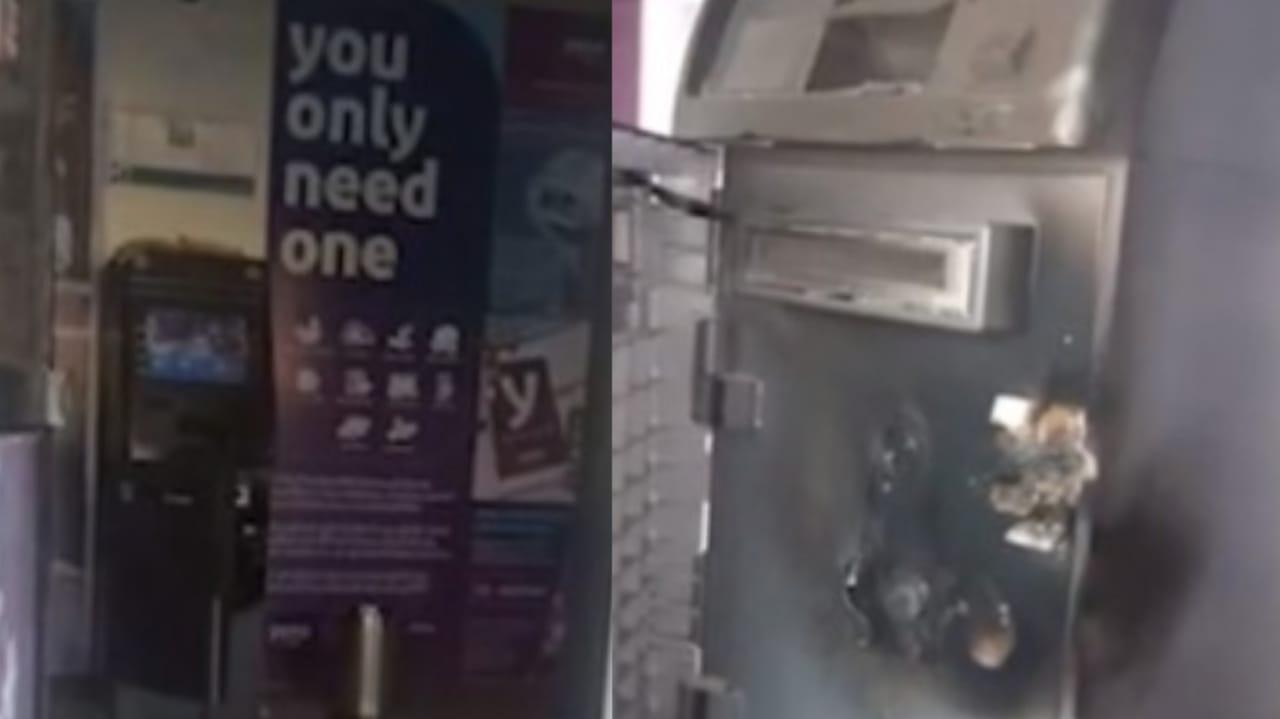 #Vadodara - મકરપુરામાં SBI નું ATM તોડવાનો પ્રયાસ : ચોર મસમોટુ ગેસકટર ખભે મુકીને લાવ્યા, જુઓ VIDEO