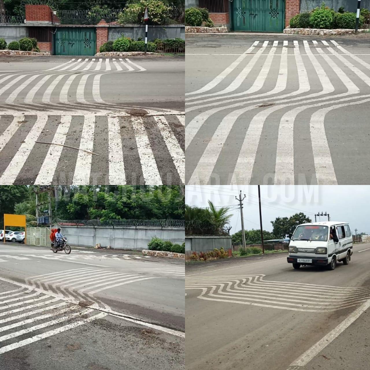 Gujarat, Shinor-segva mota fofadiya Road Zebra crossing