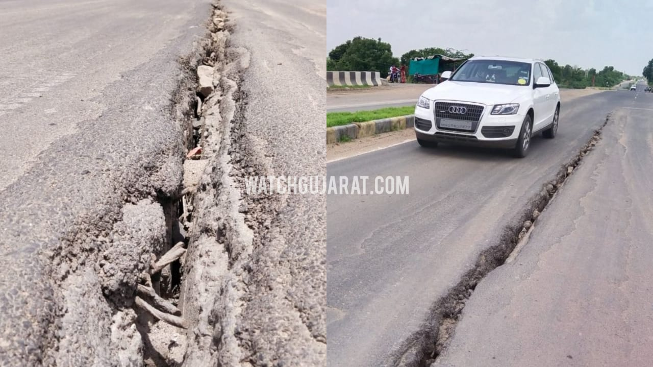 Gujarat, On way to statue of unity Major Crack on road
